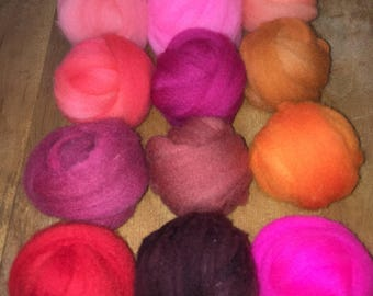 Needle felt Wool, craft,14 colors, red and pink family, wool roving USA grown wool, needlefelting hand dyed multi color pack 5.5oz