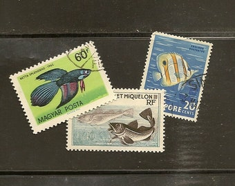 FISH on vintage used postage stamps 28 stamps - perfect for your next craft project or topical collection