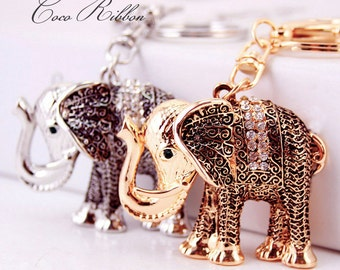 Antique Style Elephant Rhinestone Alloy Keychain Key Ring 1~4 pieces Gold / Silver B11