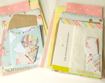 A *candy pastel* PACK-of-POCKETS. A selection of pouches, envelopes & pockets for travel journals, scrapbooks, and all your crafty doings