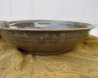 Vintage Stoneware Bowl Brown, Blue, Khaki Green
