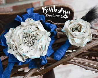 Music Theme Set of Matching Boutonniere and Wrist Corsage for Weddings, Homecoming, Prom or any Special Occasion