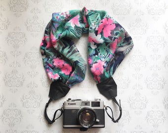 Scarf Camera Strap, DSLR Camera Strap, Soft and Silky, Nikon, Canon, DSLR Photography, Wedding Photographer Gift - Tropical Flowers