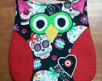 Funky Owl Purse, Hipster, Scrappy - As Shown or Design your own, Skulls