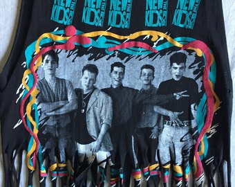 NKOTB on Tour 1989 Concert Unbelievable Cute Fringed Upcycled True Vintage T Shirt
