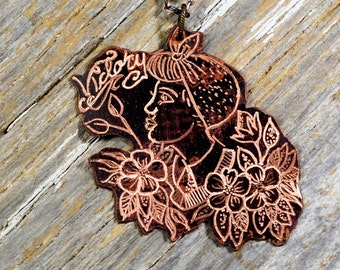 """Rosie the Rivter """"Victory"""" Necklace Hand Engraved Copper Badge - ReaganJuel: Inkd24"""