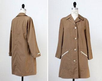 Misty Harbor Trench Coat S • 70s Jacket • Rain Coat • Vintage Jacket • Rain Jacket • 70s Coat • Tan Jacket  | O334