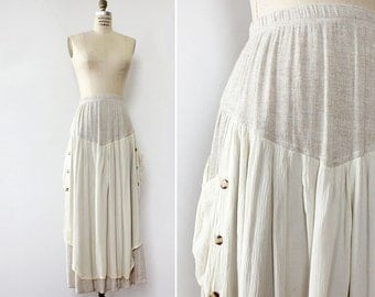 Cotton Maxi Skirt S/M/L • 90s Skirt • Maxi Skirt with Pockets • Cotton Skirt • Elastic Waist Skirt • Flowy Skirt • Vintage Skirt | SK765