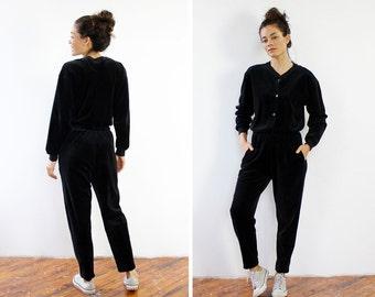 Velour Jumpsuit S/M • Black Jumpsuit • Vintage Jumpsuit • 90s Jumpsuit • Jumpsuit Vintage • Jumpsuit Women • Adult Onesie | D1181