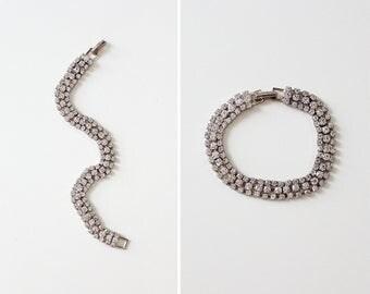 Rhinestone Tennis Bracelet • Rhinestone Bracelet • Vintage Bracelet • 70s Jewelry • Rhinestone Jewelry • Evening Jewelry | BR183