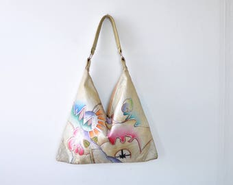 Painted Leather Hobo Bag • Slouchy Leather Bag • 80s Purse • Painted Purse • Slouchy Purse • Painted Leather Handbag | B827