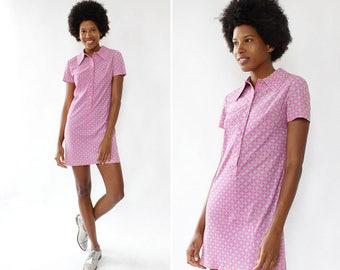 60s Mini Dress XS/S • Vintage Shirt Dress • Pink Floral Dress • Floral Mini Dress • Vintage Mini Dress • Vintage Floral Dress | D1313