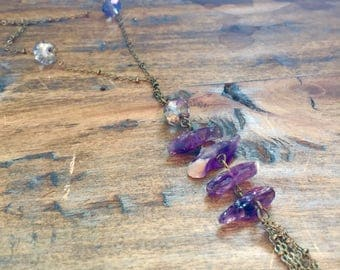 Raw amethyst crystal stack necklace