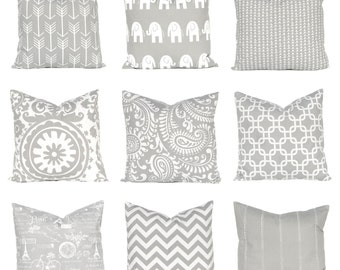 Gray Pillow, Euro Sham, Throw Pillow Cover, One Decorative Throw Pillow Cover,  Pillow Covers Storm Gray and White Mix and Match