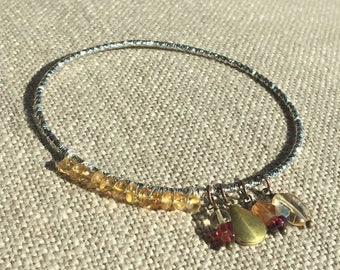 Gemstone charm bangle   Locket bracelet   Vintage upcycle bangle with gemstone charms