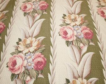 "Moss Green Glen Court Vintage Barkcloth Fabric Piece - 35"" Long x 44"" Wide Plus Small Additional Amount"