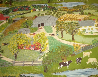 "Grandma Moses ""Childhood Home"" Unused Vintage Barkcloth Fabric — 45"" W by 33"" H — More Than a Full Repeat of the Design"