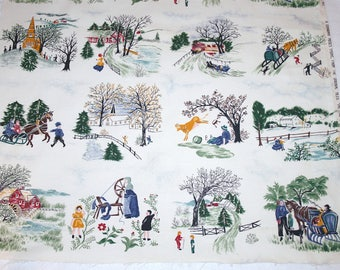 "Rare — Grandma Moses ""Tiles"" Vintage Barkcloth Fabric Piece - 23 x 23  Inches"