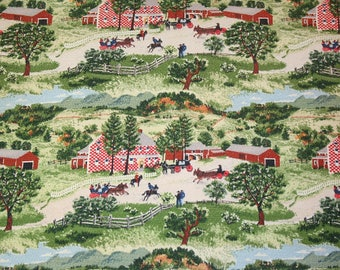 "Rare ""Checkerboard House"" Grandma Moses Vintage Barkcloth Fabric — 2 Pieces — 26 x 15 Inches & 20 x 17 Inches"