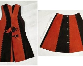 Vintage genuine 1960s 1970s suede mini skirt & matching waistcoat top brown orange patchwork vest MOD real sixties seventies TV Film costume