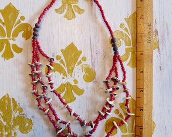 """Vintage Necklace Coral  20""""  Spectacular Shell and wood"""