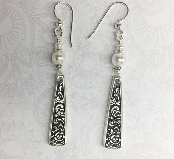 "Demitasse Spoon Earrings, White Pearls, Silverware Jewelry ""Tangier"" 1969"