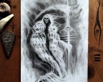 Ice Scythe Skull Reaper /// Graphite Original Art