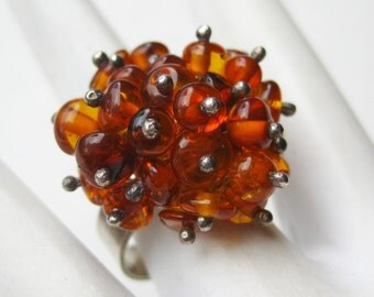 Vintage Ring Baltic Amber Mid Century Modernist Sterling Silver Cluster Ring size 8