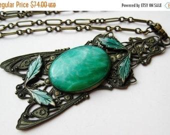 HOLIDAY SALE Vintage 20s Necklace Art Nouveau Czech Peking Glass Enamel Brass Pendant Necklace