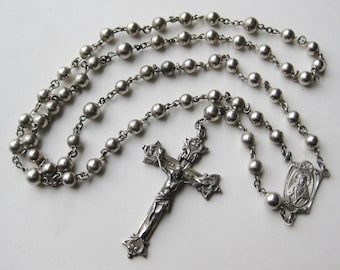 Vintage 40s Creed Sterling Silver Catholic Prayer Bead Rosary