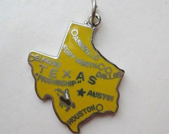 Vintage 50s Charm Texas Lone Star State Silver Enamel Souvenir Bracelet Charm