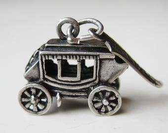 Vintage 50s Yellowstone National Park 3D Stagecoach Souvenir Sterling Silver Bracelet Charm