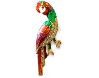 tropical bird brooch, clear rhinestones, multi color enamel, gold tone, parrot, exotic bird, bird of paradise, ocean, nautical, vintage