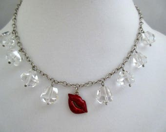 red lips necklace, kiss metal choker, red lipstick necklace, silver tone love necklace, prom necklace, wedding bridal, crystal balls