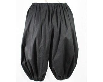 Large XL Bloomers - Antique Style Black Cotton Pantalet - Victorian Look Underwear Undergarment - Reenactment - Waist 29 to 39 - 48367