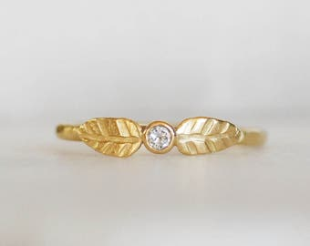 Diamond Double Leaf Wedding Ring - 2.5mm Diamond - Choose 14k OR 18k Gold - Leaf and Bud Engagement Ring - Eco-Friendly Recycled Gold