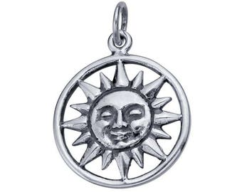 Sterling Silver Sun Face Round Charm