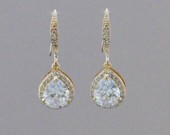 GOLD Teardrop Earrings, Crystal Earrings, Crystal Wedding Earrings, Bridal Jewelry, Wedding Jewelry, Bridesmaids Gold Earrings,