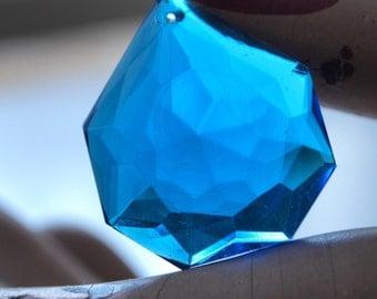 Vintage Czech Blue Faceted Glass Pendant Cerulean Blue 1.25 x 1 inch, 31x 26mm- 1 piece