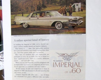 1960 Chrysler Imperial Original Vintage Auto Classic Car Ad