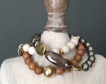 tan wood jasper, pyrite, ivory riverstone bracelet set, nuetral,  natural stones