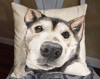 Hand Painted Pet Pillow • Custom Pet Portrait • Dog Portrait Pillow • Original Pet Painting on Pillows • 14x14 Size Pillow • Made to Order