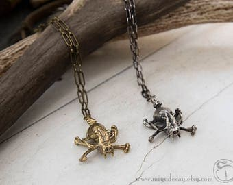 Ready to Ship Miyu Decay Bat Skull and Crossbone Necklace Sterling Silver