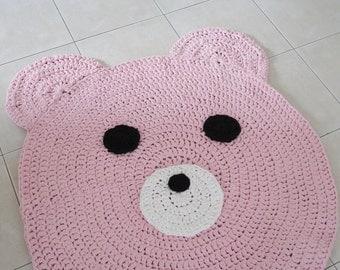 Bear rug , kids rug , crochet carpet , doily rug , girl nursery rug , pink crochet rug