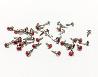 42 RED Gem Brads for Scrapbooking, Card Making, Flower Centers