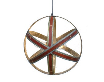 Leather and Wine Barrel Ring ATOM Pendant Light