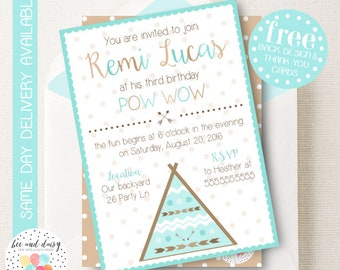 TeePee Invitation, TeePee Birthday Invitation, TeePee Birthday Party, TeePee Party Invitation, Tee Pee Party, PowWow Party, BeeAndDaisy