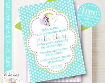 Under the Sea Invitation, Under the Sea Birthday Invitation, Girl First Birthday, Girl Birthday, Purple Fish Birthday Invitation, Fish Party