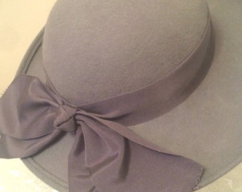 vintage gray wool oversized hat with bow