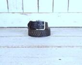 90s vintage black distressed tooled leather belt/embossed belt/mens distressed leather belt/large/xlarge